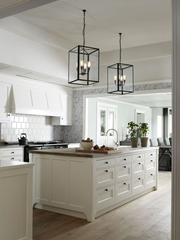 white kitchen | pendants
