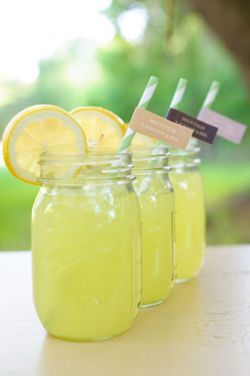 Would love to have these served in Mason Jars and have like a Pitcher of fresh lemonade at each table to serve from.