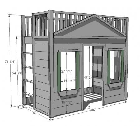 I want to make this!  DIY Furniture Plan from Ana-White.com  A totally buildable playhouse loft bed that can be easily assembled in rooms.  Features cottage styling, open ladder, full railings, three large windows and a doorway. Freestanding.