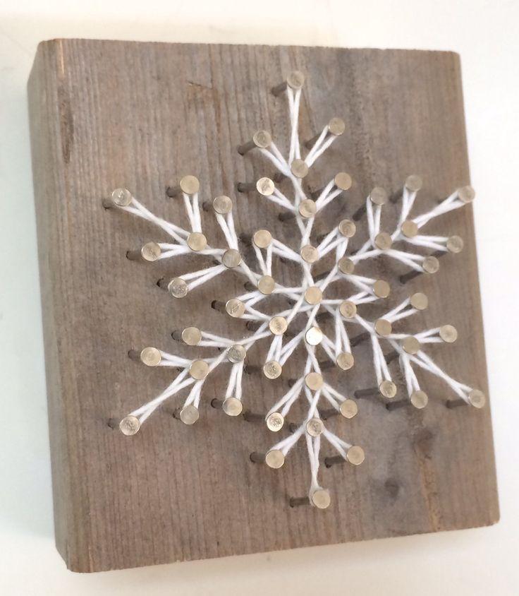 Rustic snowflake string art wooden block – A uniqu…