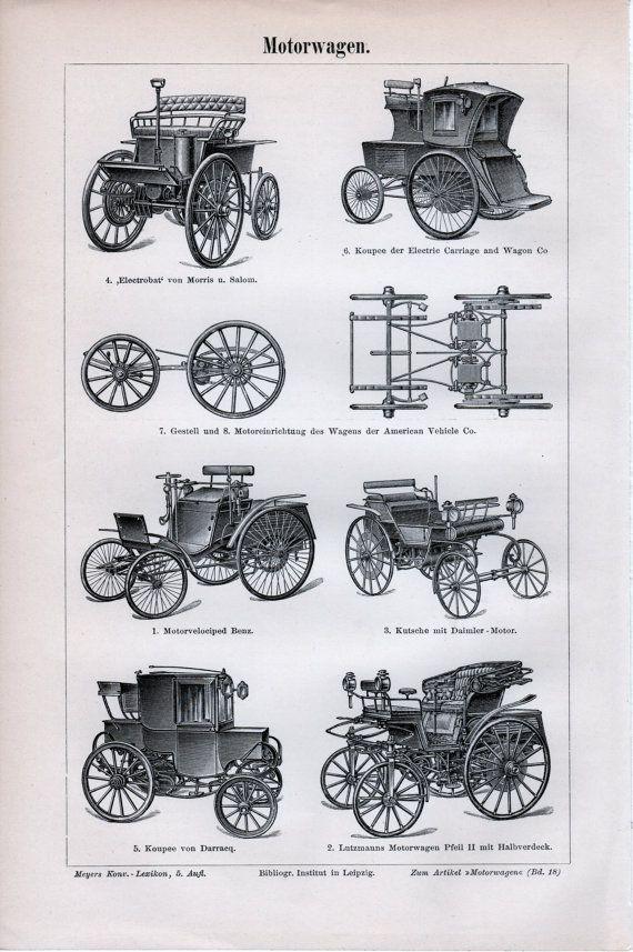 1898 Antique Automobiles Print Benz Motorwagen by Craftissimo, €12.95