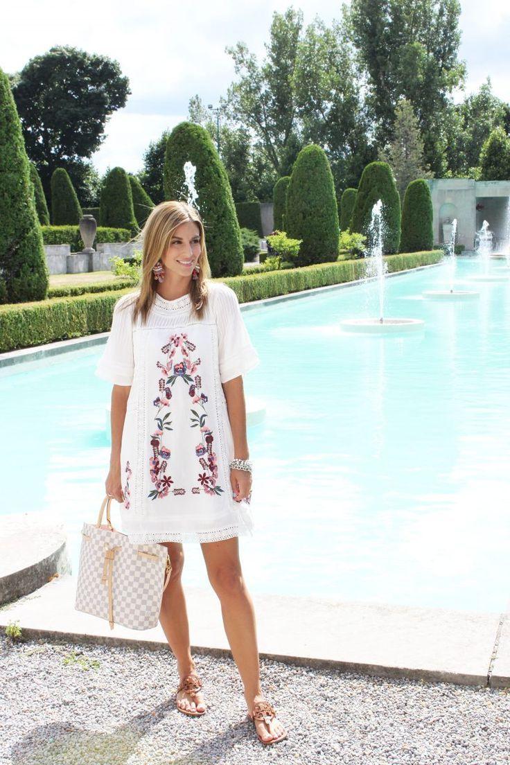 Summer Style; Embroidered Floral Dress from Zaful; Tory Burch Millar Sandals; Louis Vuitton Girolata Bag