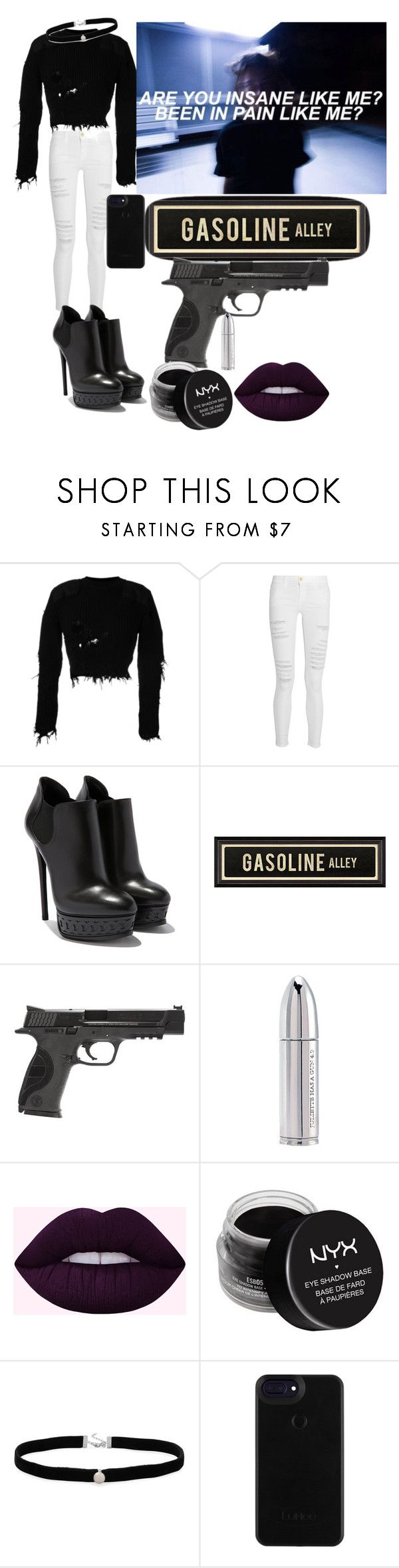 """""""Gasoline Halsey"""" by praygirlpray ❤ liked on Polyvore featuring Yeezy by Kanye West, Frame, Artisan, Smith & Wesson, Juliette Has A Gun, NYX and Amanda Rose Collection"""