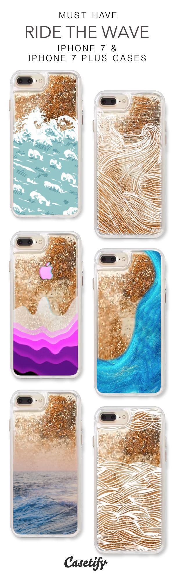 Must Have Ride The Waves iPhone 7 Cases & iPhone 7 Plus Cases. More protective liquid glitter ocean iPhone case here > https://www.casetify.com/en_US/collections/iphone-7-glitter-cases#/?vc=R1xIYV80z9