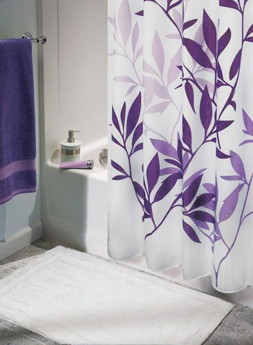 1000 ideas about purple shower curtains on pinterest - Lavender and white bathroom ...