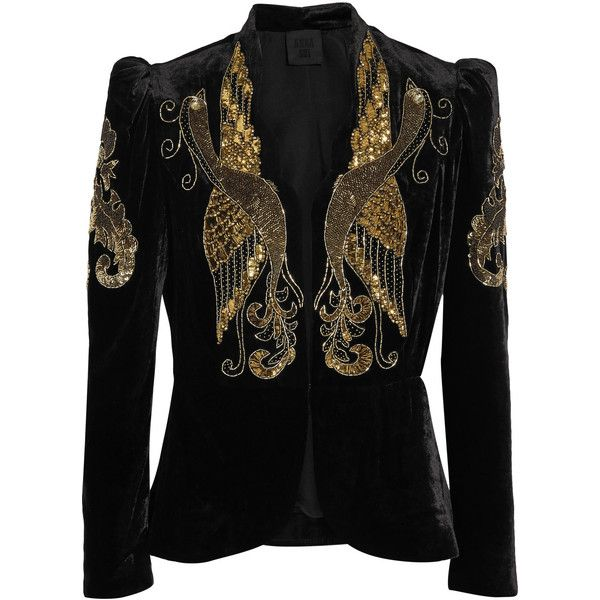 Anna Sui Phoenix embellished velvet jacket ($1,860) ❤ liked on Polyvore featuring outerwear, jackets, black, anna sui, beaded cami, sequin camisole, embellished cami and structure jacket