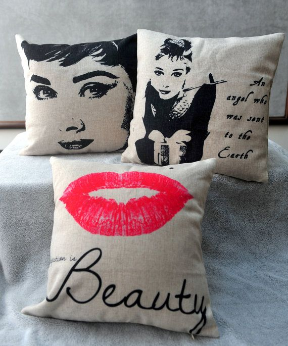 "Audrey Hepburn Marilyn Monroe Lip Linen Cotton Fabric Decorative Throw Pillow Cover Case 18""x18"""