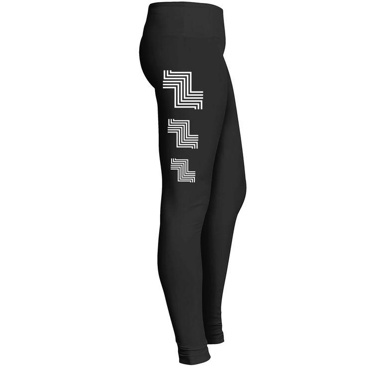 White geometric lines, tripple striped design, abstract stripes, circuit pattern black leggings