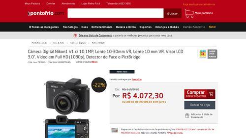 [PontoFrio.com] Câmera Digital Nikon1 V1 c / 10.1MP, Lente 10 - 30mm VR, Lente 10 mm VR, Visor LCD 3.0, Vídeo em Full HD ( 1080p ) ,…