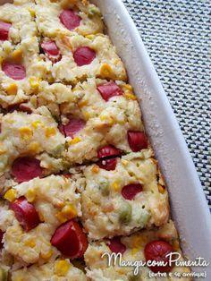Torta de Arroz com Salsicha, para fazer no final de semana para beliscar. Clique na imagem para ver a receita no blog Manga com Pimenta.