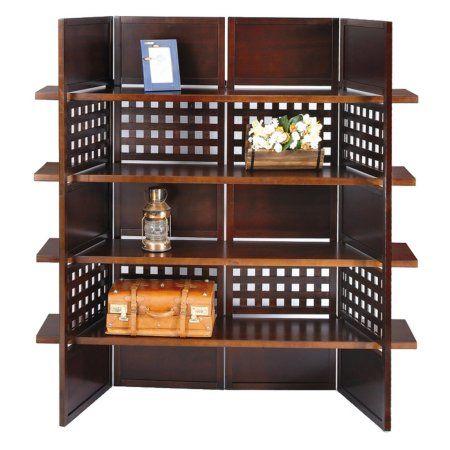 Ore International 4-Panel Book Shelves Walnut Finish Room Divider, Brown