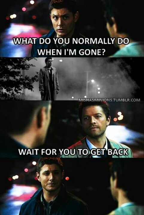 Cas waiting for Dean