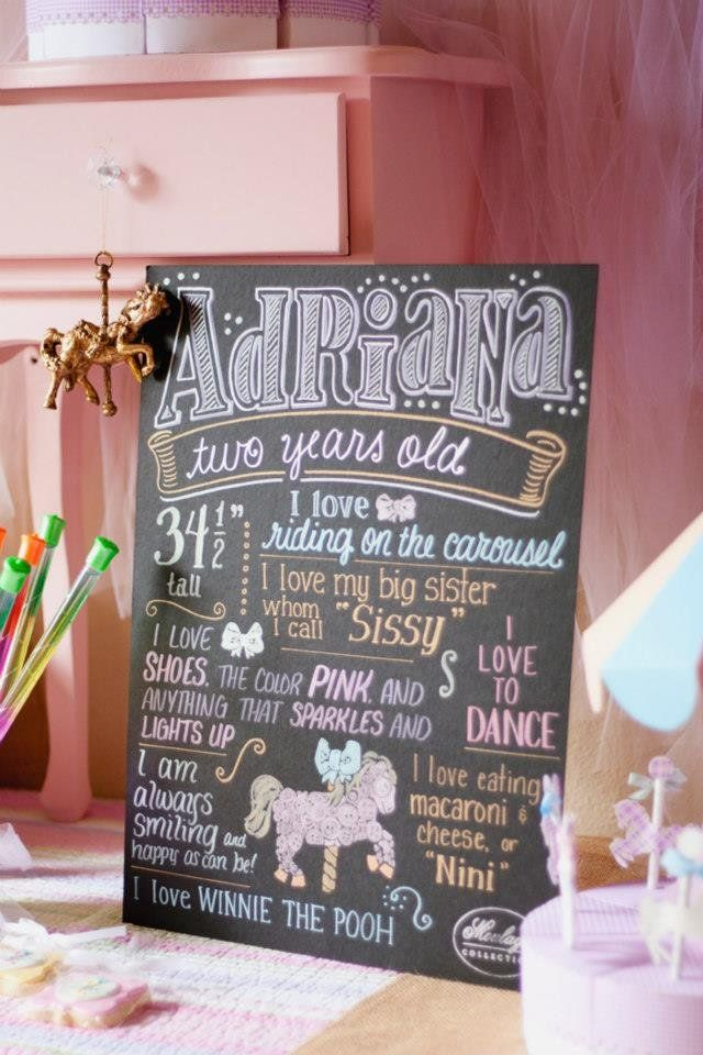 Pastel Carousel Party With Cool Chalkboard Sign | POPSUGAR Moms