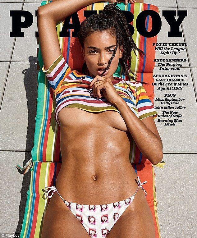 Racy: The US-based stunner showed plenty of skin on the September cover of Playboy...