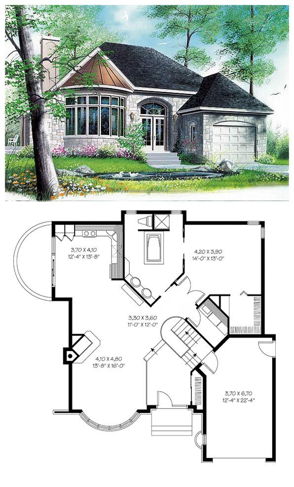 Victorian Style House Plan Number 65084 with 1 Bed, 1 Bath, 1 Car Garage