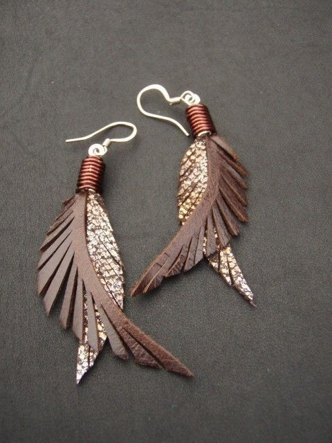 Cyclona Designs leather feather earrings