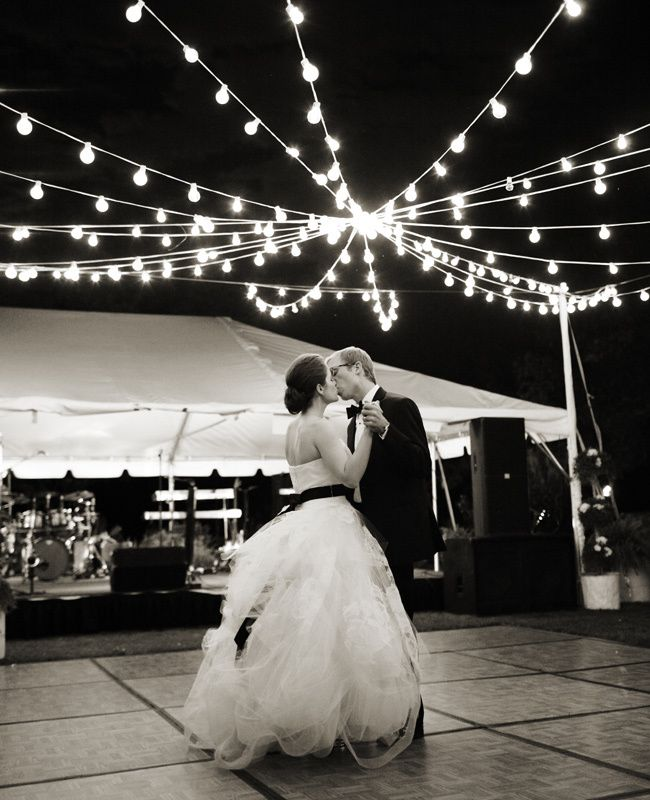 Creative Lighting Ideas // The Knot Blog Good idea to have the dance floor outside of the tent.