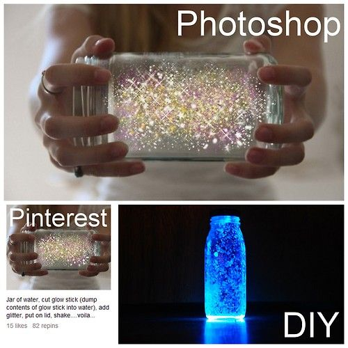 Make your own Fairy Glitter-instructions say, take a jar of water, (maybe bottle of water?), cut a glow stick (dump contents of glow stick into water), add glitter, put on lid and shake...voila!