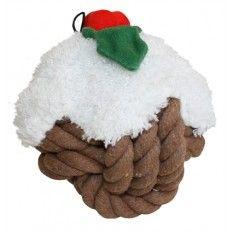 """De Knottie Head kerst pudding is een extra grote bal gemaakt van onweerstaanbaar flostouw met een zacht pluche """"topping"""". In dit speeltje zit een pieper die de bal wel erg aantrekkelijk maakt. Tijdens het kauwen en spelen op dit speelgoed worden de tanden van jouw hond schoon gemaakt en het tandvlees gemasseerd, dit draagt bij aan een gezond gebit!"""