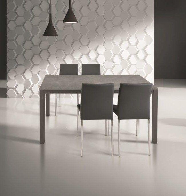 Tavolo In Metallo E Cemento Grigio Allungabile 11070 Cm