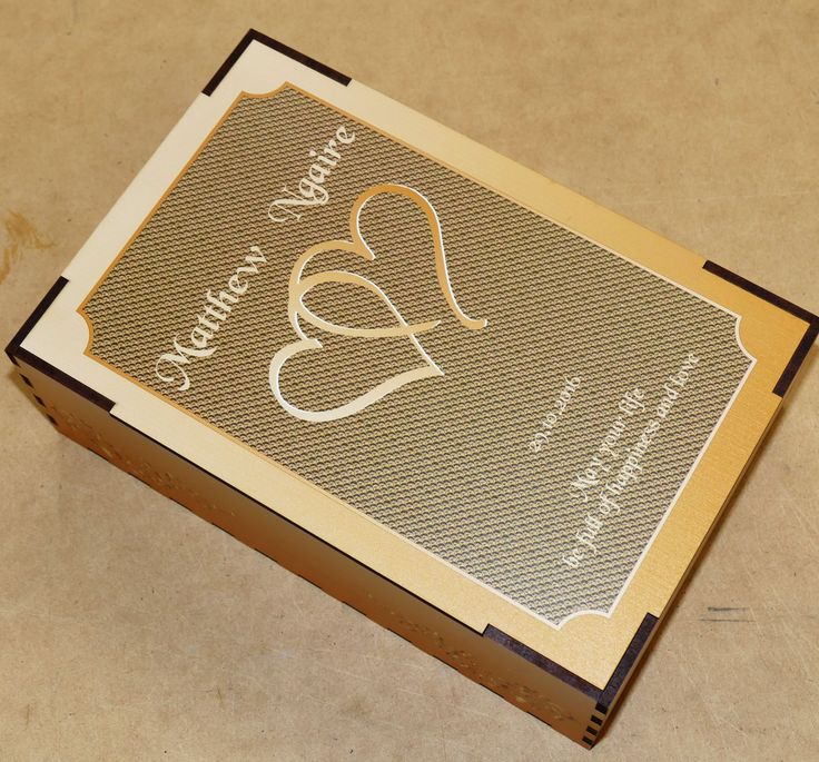 Champagne flutes pair custom engraved in printed timber box as Wedding, anniversary, or engagement gift