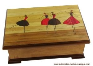 Boîte à bijoux musicale Lutèce Créations avec ballerine dansante et mécanisme musical traditionnel de 18 lames - Référence de cette boîte à bijoux musicale : BAS.18.K.00.CYGNES