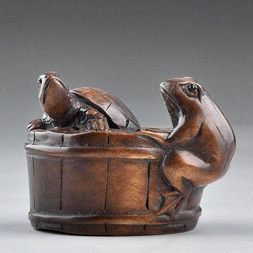 Japanese carving turtle frog sculpture boxwood wood
