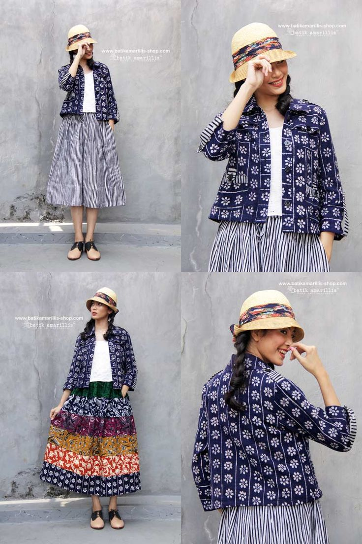 Batik Amarillis made in Indonesia www.batikamarillis-shop.com     Batik Amarillis's Traveller jacket in gorgeous indigo colored 'melati' pattern tenun batik Gedog  Tuban , the jacket itself is sporty chic with awesome texture - a safari kinda a style with a twist!!!