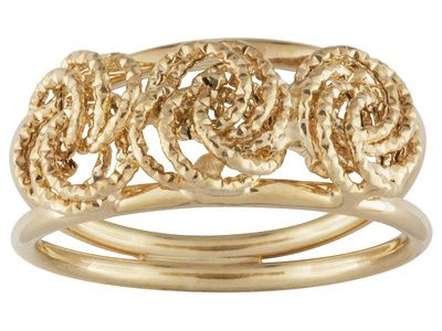 Love the detailing on this ring. The swirls bring such a whimsical feel to the fashion statement! | 14k Yellow Gold   Rosetta Band Ring