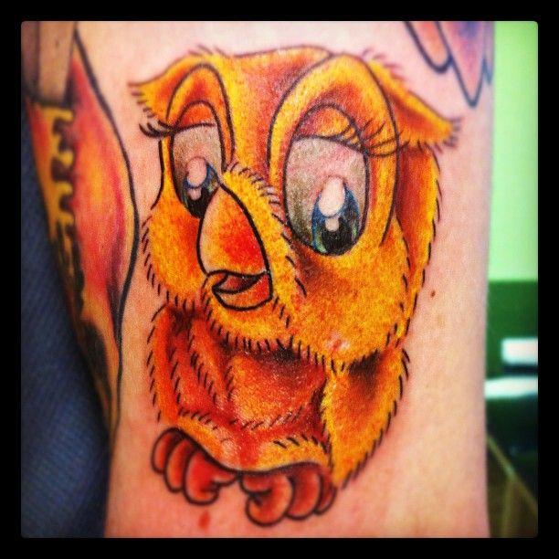 Cartoon Baby Owl Tattoo Design