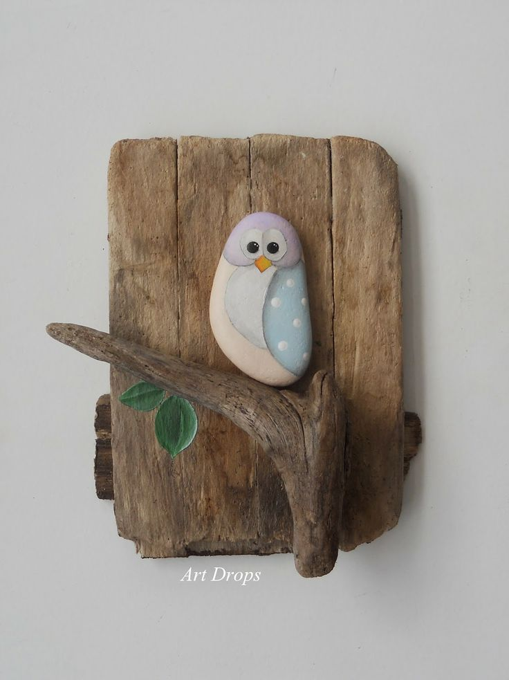 Art Drops. Driftwood and a painted stone go together to create this lovely Owl on a Branch piece of artwork - how easy is that?!