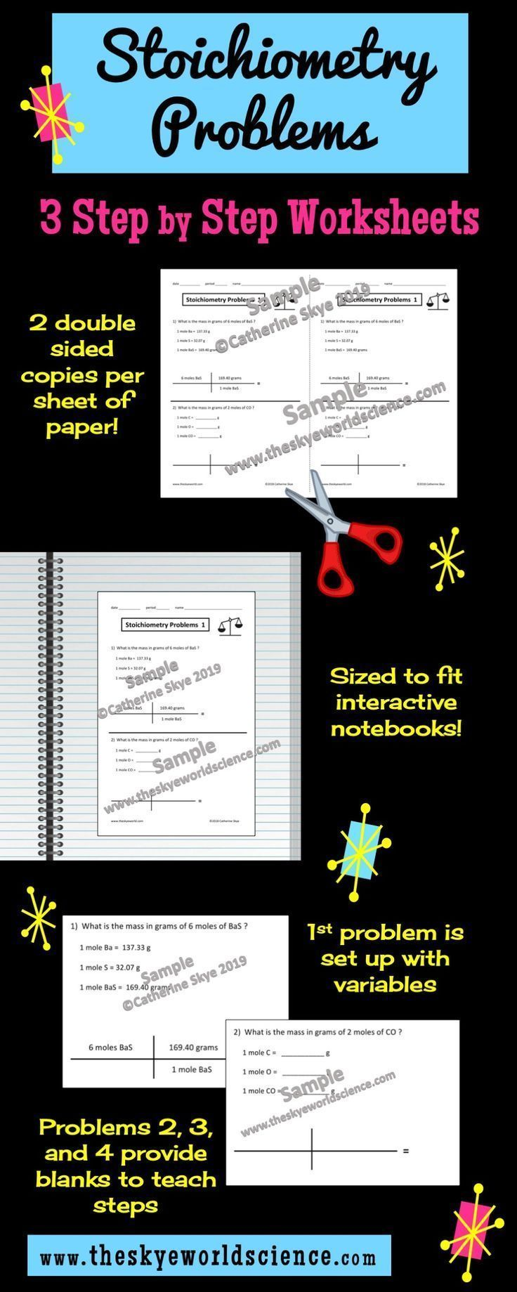Make Stoichiometry Simple By Breaking It Into Steps Set Of 3 Paper Saving Worksheets With Answer Ke Physical Science Education Blog Interactive Notebooks