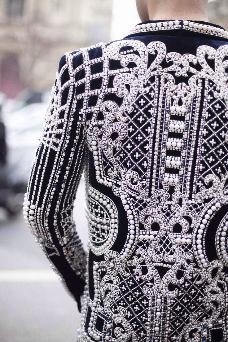 Inspiration, Details, Street Style, Jackets, Paris Fashion Weeks, Black, Embroidered Jacket, Pierre Balmain