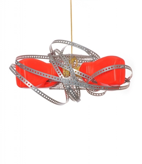 This chandelier is both cozy and raw, not necessarily to read books, ideal for pubs or special-purpose rooms.  Made of plastic bottles and basket for test-tube. For electricity transport yellow textile polyester cable has been used (~3m length) . All is entangled with metal perforated tape fixed with screws to make it solid.
