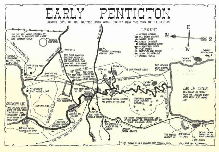 Map of Penticton Area at the turn of the 20th Century, shortly after the first stern wheeler was launched onto Okanagan Lake.  (We apologize for the outdated terms used in this illustration). Map Showing: the position of the Lake shore goldmine, the old Kelowna trail, the site of the first hotel and jail, first nations land use including villages, hunting areas, salmon fishing camps. Also shown is the old wagon road, the powder house, the site of the first catholic mission and the route of…