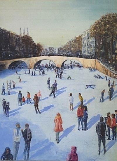 Amsterdam People Ice skating