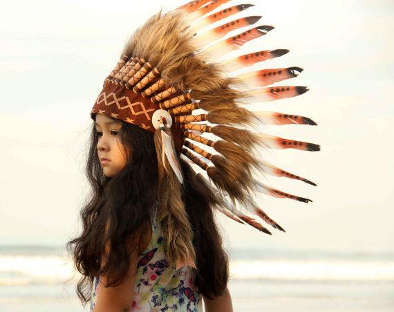 Children's feather headdress, kid's headdress, short length, white and brown, indian estile native american headdress