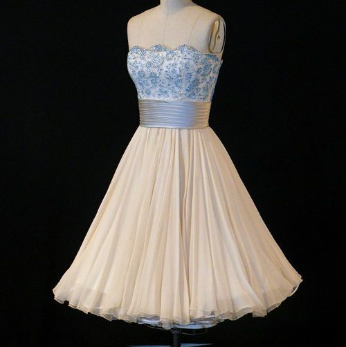 Vintage 50s strapless ivory cream my style pinterest for 1950s wedding guest dresses