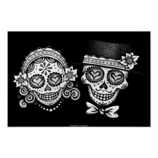 This Day of the Dead Sugar Skull Couple print or poster features a smiling sugar skull couple - a beautiful female and a handsome male calavera, intricately decorated with Dia de los Muertos designs. These Los Novios Dia de los Muertos Sugar Skull Couple posters or prints are perfect for Day of the Dead themed weddings, engagement parties, or simply a gothic declaration of undying love! You can customize this poster print with your own text, such as your names, or anything else you can…