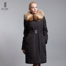 US $62.00 BASIC-EDITIONS New Women's Clothing Embroidered Long Parka Fox Fur Collar Female Jacket Luxury Women Cotton Coat D12101. Aliexpress product