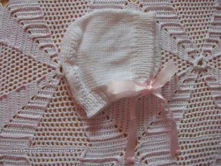 Os meus artigos de tricot (e desabafos de mãe): Touca branca de algodão