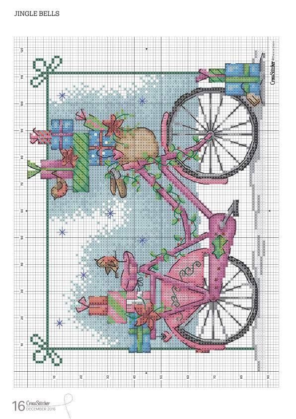 PATRONES PUNTO DE CRUZ GRATIS: CUADRO de una bella Bicicleta a punto de cruz... Gráfico gratis