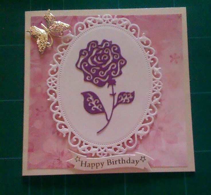 Tattered lace birthday card.