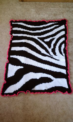 Zebra crocheted baby blanket!! Will have to make this!!
