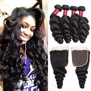 Allove Hair 8A Brazilian Loose Wave Hair Bundles with Closure Virgin Human Hair Weave Extensions with Free… Review