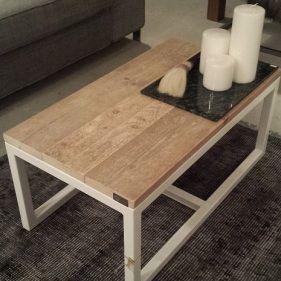 Salontafel modern wit staal en hout. Scandinavische stijl. #jong #hip