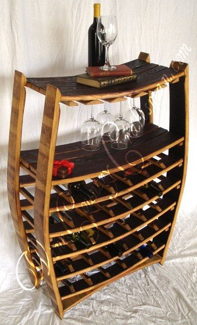 Large Wine Barrel Rack with glass holders- 100% recycled Napa barrels on Etsy, $650.00