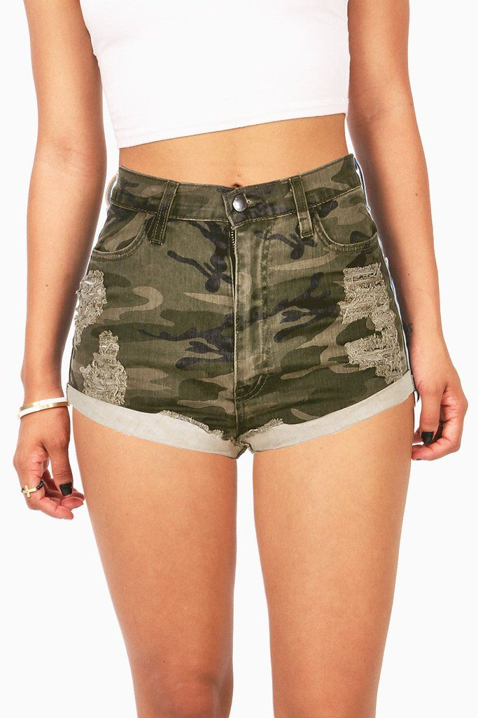 High waist denim shorts in a camouflage print with light distressing…