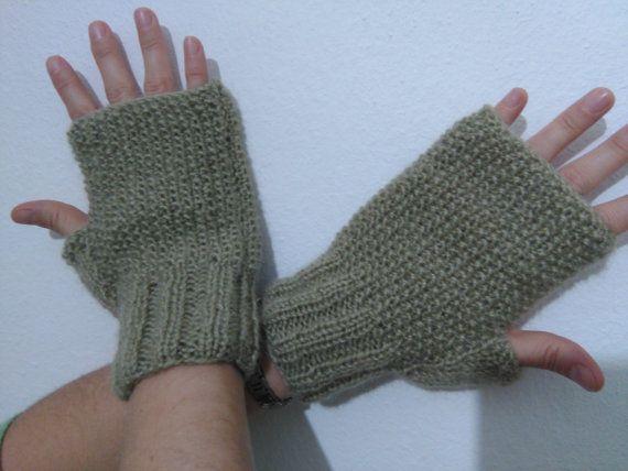 Drab/Light Khaki Fingerless Gloves Women GlovesKnitting by SELINCE