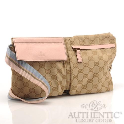 Gucci Monogram Pink Blue GG Waist Bag Belt Fanny Pack RARE ...